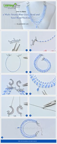 How to Make a Multi-Strand Blue Glass Bead and Seed Bead Necklace from LC.Pandahall.com