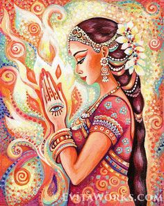 """~ Sacred Pray, Indian woman ~ This item is based on our original painting, named """"Sacred Pray"""". Varied hand-made crafts with this motif available. Dance Paintings, Indian Art Paintings, Original Paintings, Original Artwork, Indian Women Painting, Abstract Paintings, Oil Paintings, Indian Goddess, Goddess Art"""