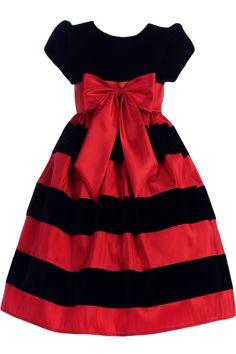 5b1199d551 Black Velvet   Red Taffeta Striped Girls Holiday Dress 3m-10
