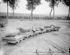 15 inch shells being transported by light railway. Amiens-Albert road, 28 August 1916.