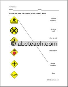 Worksheet Traffic Warning Signs Matching Preview 1 Driving Teen, Driving Safety, Driving School, Drivers Permit Test, Drivers Ed, Life Skills Lessons, Esl Lessons, Practice Driving Test, Driving Tips For Beginners