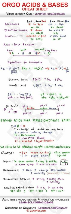 Acids and Bases in Organic Chemistry - Arrhenius, Bronsted-Lowry and Lewis acids and bases, reactions, acid/base strength, pH to pKa relationship and more Más Chemistry Help, Chemistry Worksheets, Chemistry Classroom, Chemistry Notes, Teaching Chemistry, Chemistry Lessons, Science Chemistry, Organic Chemistry, Physical Science