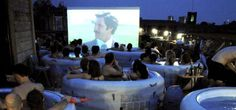 Enjoy a film while relaxing in a hot tub? Can't think of anything worse