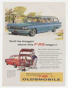 Olds Oldsmobile F-85 3-Seat Station Wagon (1961) Classic Ad, Vintage Poster, Retro Commercial