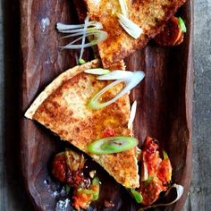 Chorizo and spring onion quesadillas