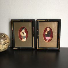 Japanese Oshie Art - In Bamboo Style Frame, Kimona Fabric Art, Vintage Oshie Craft, Japanese Oshie Picture, Japanese Art, Asian Decor