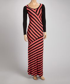 Take a look at this Coral Diagonal Stripe Maxi Dress by American Twist on #zulily today!