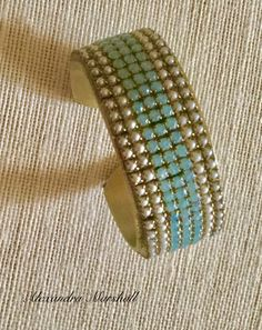"""""""Aire Bleu Opal"""" I love the association of pearls and Swarovski Crystals in this cuff bracelet by Alexandra Marshall. Custom made for Boopie.#B2614. Boho Jewellery, Pearl Jewelry, Design Crafts, Semi Precious Gemstones, Jewerly, Turquoise Bracelet, Swarovski Crystals, Cuff Bracelets, Opal"""