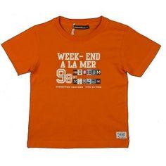 Oranje T-shirt van Weekend a la mer met ronde ronde hals en korte mouw.