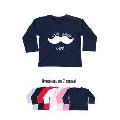 Baby boy shirt, little mister shirt, longsleeve shirt, personalized shirt, name shirt, baby birthday shirt, customizable shirt, mustache tee by KMLeonBE on Etsy