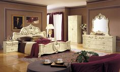 Stylish Design Furniture - Barocco Ivory Italian Classic 5-Piece Bed Set Cal. King Only, $2,362.50 (http://www.stylishdesignfurniture.com/products/barocco-ivory-italian-classic-5-piece-bed-set-cal-king-only.html)