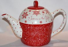 "Dayspring Christmas Teapot ""Jesus Is The Gift"" Dishwasher Microwave Safe New 