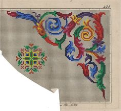 An Absolutely Gorgeous Colourful Berlin WoolWork Corner Pattern! Mini Cross Stitch, Cross Stitch Borders, Cross Stitch Alphabet, Cross Stitch Charts, Cross Stitching, Cross Stitch Embroidery, Cross Stitch Patterns, Embroidery Flowers Pattern, Embroidery Patterns Free