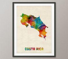 Costa Rica aquarel kaart Art Print 1034 van artPause op Etsy