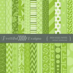 50% OFF SALE St Patricks Day Digital Paper Pack for Personal or Commercial Use - Irish Kisses (810)