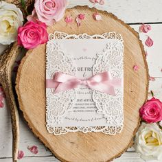 Alice Vintage Inspired Laser Cut Wedding Invitation - Minimum order 30