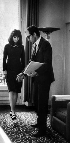 Anna Karina with Jean-Luc Godard (1965) on the set of Alphaville.
