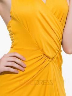 Ericdress Asymmetric Plaine Backless Maxi Dress Robe maxi