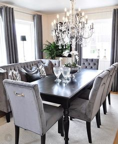 Room Decor Dining Table Elegant Velvet Black Chairs