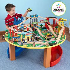 Kids Activity Table Wooden Train Set Toddler Boys Toys Arts Crafts Play Cars NEW | Toddler boy toys  sc 1 st  Pinterest : train set table for kids - pezcame.com