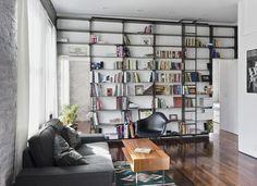 Custom Made Minimal, Blackened-Steel Bookshelves With Rolling Library Ladder