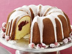 Meyer Lemon-Cranberry Bundt Cake recipe from Food Network Kitchen via Food… Cranberry Bundt Cake Recipe, Lemon Bundt Cake, Cranberry Cake, Bundt Cakes, Lemon Desserts, Just Desserts, Dessert Recipes, Elegant Desserts, Lemon Recipes