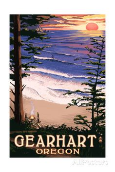 Gearhart, Oregon - Sunset and Surfers Prints by Lantern Press at AllPosters.com