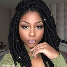 """486 Likes, 15 Comments - BOBBI BOSS (@bobbiboss_hair) on Instagram: """"Très belle! French makeup artist @nelita_makeup_ in our Bomba Faux Locs Soul cut and styled into a…"""""""