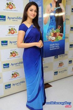 Actress Tamanna Launches Parachute Advanced Ayurvedic Hair Oil in Chennai. Tamanna Cute Saree Stills. Tamil Actress Tamanna in Blue Saree Indian Bridal Sarees, Indian Designer Sarees, Pakistani Bridal Wear, Indian Beauty Saree, Latest Embroidery Designs, Kurti Embroidery Design, Kerala Saree Blouse Designs, Saree Blouse Patterns, Beautiful Saree