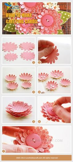 DIY: 12 Easy Paper Flowers To Try At Home Liked this pin? see this post for much… Easy Paper Flowers, Diy Flowers, Fabric Flowers, Button Flowers, Diy Paper, Paper Crafts, Diy Crafts, Paper Art, Deco Floral