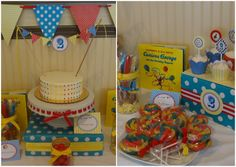 Candy dot cake and lollipop cookies.