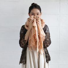 Thai Saloo Cotton Scarf Botanical Dyed Cotton Tan Color-www.tanbagshop.com