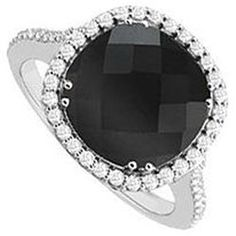 Genuine Black Onyx and Diamond Ring: 14K White Gold - 2.50 CT