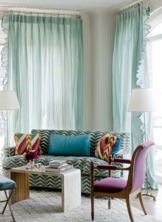 Gorgeous fluffy curtains...and the colours