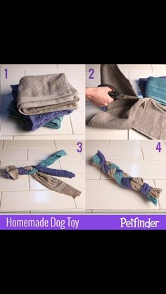 Looking for more toys to entertain your new family member? Use old, clean dish towels to create a homemade toy for your pooch! Does your pet have a. Homemade Dog Toys, Diy Dog Toys, Cat Toys, Old Towels, Dish Towels, Animal Nutrition, Pet Nutrition, Nutrition Guide, Dog Potty