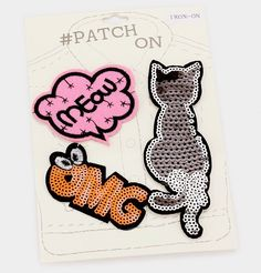 3 PCS Sequin Cat  amp  Message Bubble Embroidered Iron On Patch Set   Unbranded Sew c7e4d4a878c4