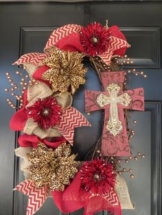 Burlap Wreath with Cross by TwistedandTwizzled on Etsy, $65.00