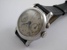 Rare vintage all steel handmade in switzlerland one mono push heuer mini chronograph everything running fine by Bohemianwatchsource on Etsy