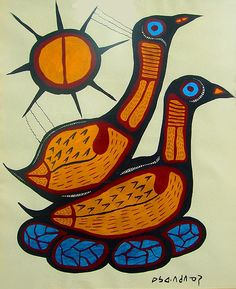 Loons Nesting by Norval Morrisseau Native American Print, Native American Paintings, Native American Artists, Canadian Artists, Arte Inuit, Inuit Art, Woodland Art, Animal Symbolism, Art Lessons Elementary