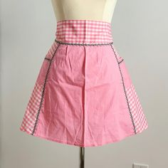 Vintage #handmade #apron in Etsy! Pink and white #gingham with grey #rickracktrim - so cute! Looks like it was never used. 💖 1960s Kitchen, Rick Rack, Half Apron, Aprons Vintage, Pink Gingham, 1960s Fashion, Hand Sewing, Grey, Skirts