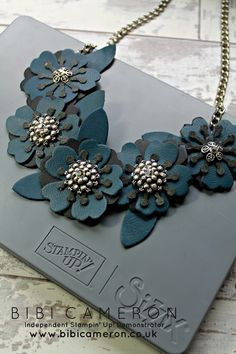 Independent Scotland Stampin' Up! Demonstrator Bibi Cameron: The night of navy version of leather accessories made with the Bouquet Bigz L die from Stampin Up!