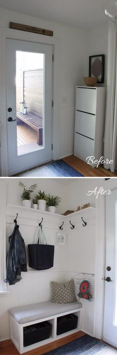 Clever and Creative Solutions for a Tight Back Porch Entryway.