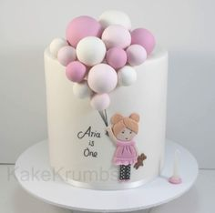 Baby Girl Birthday Cake, Cute Birthday Cakes, Birthday Parties, Cake Designs For Kids, Balloon Cake, Birthday Cake Decorating, Girl Cakes, Cupcake Cakes, Fondant Cakes