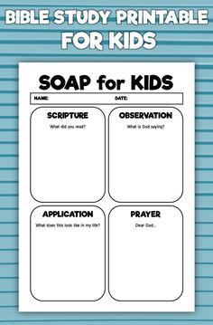 Soap From The Bible Worksheets Bible Study For Kids, Bible Lessons For Kids, Kids Bible, Prayers For Children, Kids Prayer, Sermon Notes, Bible Activities, Sunday School Lessons, Children's Bible