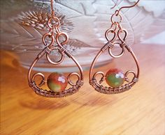 Wire Wrapped Earrings Copper and Agate Gemstone  by GearsFactory, €18.00