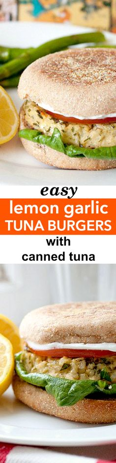 Easy Lemon Garlic Tuna Burgers Recipe - These are the best tuna burgers and they're so easy! Made with canned tuna, they're easy, packed with protein, and full of lemon garlic flavor!