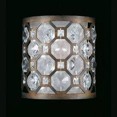 Cartier Weathered Bronze One-Light Wall Sconce with Crystal Accents