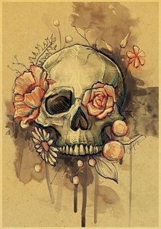 don't mind the skull in this one at all! Love this idea for a thigh tattoo I don't mind the skull in this one at all! Love this idea for a thigh tattoo.I don't mind the skull in this one at all! Love this idea for a thigh tattoo. Tattoo Website, Tattoo Muster, Totenkopf Tattoos, Flower Skull, Skull Tattoo Flowers, Pretty Skull Tattoos, Floral Skull Tattoos, Sugar Skull Tattoos, Feminine Skull Tattoos