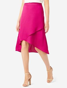Wrap Look Hi-Low Skirt - A tiered wrap-look silhouette has plenty of graceful movement! Pair it with a fitted tee and wedges for a stylish weekend look.