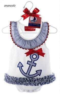 Buy Cute Anchor Baby Girl Sleeveless Romper Bodysuit Jumpsuit Dress at Mama - Thoughtful Shopping Baby Outfits, Fancy Dress Outfits, Kids Outfits, Burberry Baby Clothes, Fashion Kids, Kids Girls, Baby Kids, Cute Baby Clothes, Girls Wear